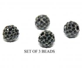 Black 6mm Metal Pave crystal beads