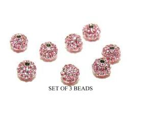 Pink 6mm Swarovski Pave Crystal Metal Bead