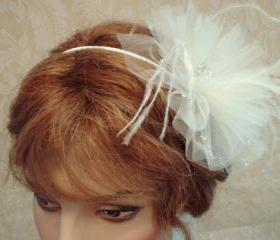 Coco Bridal Hair Accessory - Weddings, Ivory Headband, Bridal Fascinator, Bridesmaids, lllusion Tulle, Ostrich Feathers