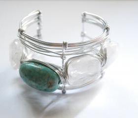 Quartz and Amazonite gemstones wire wrapped cuff - semi precious stone - summer fashion bracelet
