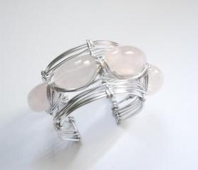 Rose Quartz gemstone wire wrapped cuff - semi precious stone - summer fashion bracelet