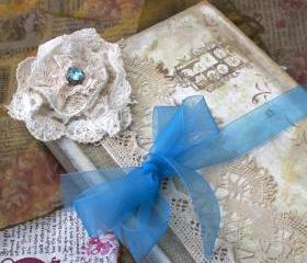 Wedding Guestbook - Teal and rose pink in vintage shabby chic - Custom