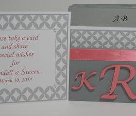 Custom Wedding Guest Box & Cards - Grey, Coral and White w/Couple Monogram (custom colors available)