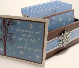 Custom Wedding Guest Box & Cards - Chocolate Ice Blue and White Theme (custom colors available)