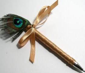 Peacock Wedding Guestbook Pen