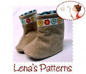 Sewing Pattern for Flower Power Baby Boots 