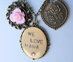We Love Mama necklace, hand stamped, romantic jewelry