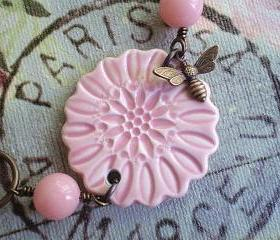 Pink Lemonade Ceramic Flower Bracelet