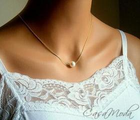 Floating Pearl Necklace In Gold Chain With 10mm White Swarovski Crystal Pearl 18 Inches