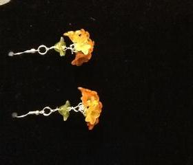 Lucite Flower Cluster Earrings