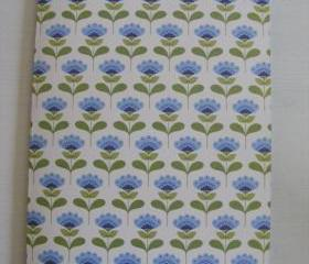 A5 Handmade Notebook Blue and Green Tida Flowers Cover with plain Blue and Yellow Pages