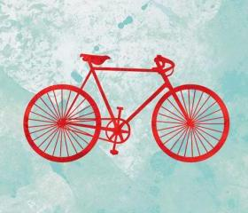 Bicycle print - 5 x 7 - modern art, bike art, turquoise, red, bicycle illustration