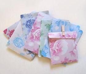 M size 13.5cmX10cm Set 60 pastel assorted 6 pattern vintage paper bags gift bags favor bags
