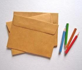 25 Kraft envelopes 11cmX15cm 125g side open great for photo or postcard flat envelope paper bags