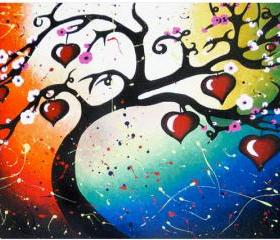 Red Hearts Tree of Life Art Print Home Decor - 8.5 x 12.5 Signed