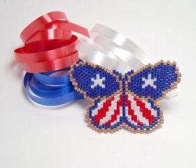 Patriotic Brooch 4th of July Red White and Blue Butterfly