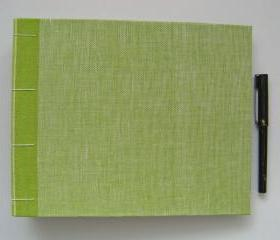 Guest Book in Green Linen - Ready to Ship