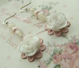 Pink long flower earrings, dangle, romantic jewelry