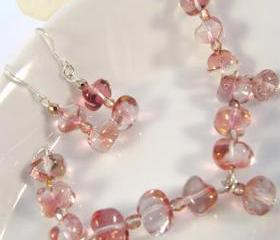 SALE. Jewelry set. Sterling silver pink bracelet and pink earrings, dangle, romantic jewelry