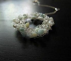 Glacier Necklace: knitted wire and amazonite on a 16' sterling silver chain