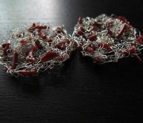 Branching Out Earrings: knit wire with coral on sterling silver ear wires