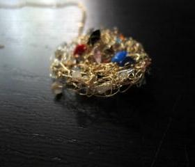 Summer Necklace: knit wire with quartz pieces on a 24' gold filled chain