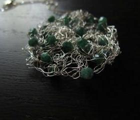 Adventure Necklace: knit wire with aventurine on a 24' sterling silver chain