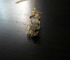 Stepping Stones Necklace: knit wire with labradorites on a 16' gold filled chain