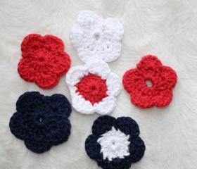 set of 6 crochet red , blue and white
