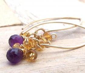 Amethyst, Citrine 14k Gold Fill Elongated Leaf Earrings