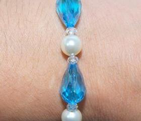 SALE Something Blue Beaded Pearl Bracelet - Pearl Bracelet - Stretch Bracelet