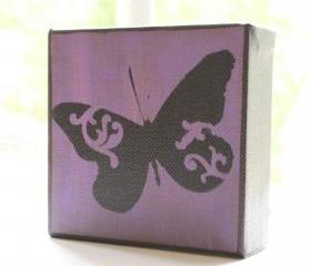 Butterfly in Purple- 4x4 Art Block