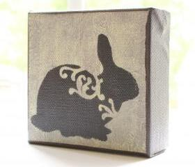 Bunny in Pale Yellow- 4x4 Art Block