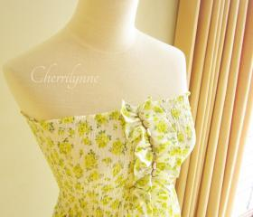 Smocked Dress with Ruffles and Beads Lime Green Japanese Cotton Floral Print