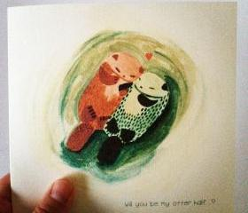 'Will you be my Otter half' Valentines/Anniversary card