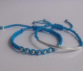 Bright Sea Blue satin Beaded Friendship Bracelets Playful Summer Fun SET OF TWO