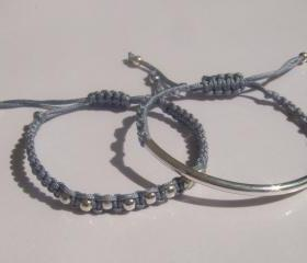 Steel Grey Beaded Friendship Bracelets Playful Summer Fun SET OF TWO
