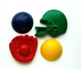 Sports Party Favors - Package of 12 Baseball Football Soccer Basketball Shaped Crayons