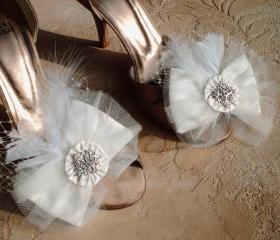 Ivory Bow Wedding Shoe Clips Or Hair Clips / Embellished With Tulle Rhinestone Buttons A Wisp Of Feathers And Birdcage Netting