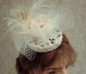 Ivory Bridal Hat Cocktail Hat Wedding Headpiece With Feathers Vintage Lace Pearls And Crystals