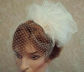 Weddings - Bridal Fascinator, Feather Hair Accessory, Bridal Accessory, Crystals Pearls, Russian Netting, Ostrich Feathers Paris Chic