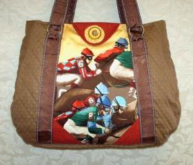 Equestrian Tote, Race Horse, Jockey, Silks, Preakness Stakes, Vintage Jockey Silk Tie, Carolynn Redwine Geer