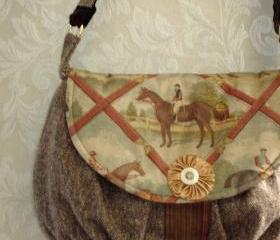 Equestrian Petite Messenger Bag In Brown Rust And Gold Wool Tweed For Fall