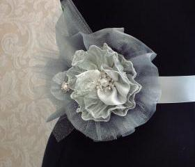 Silver Bridal Sash Tulle, Organza, Crystals, Pearls, Rhinestone Beaded Flower Sash