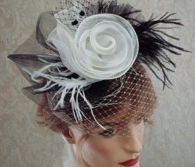 Cocktail Hat / Floral Feather fascinator In Black And White For Wedding / Dance / Burlesque