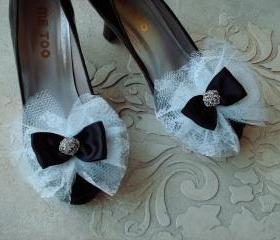 Glam Bow Shoe Clips Black White Wedding Satin Ribbon White Lace With Rhinestone Buttons