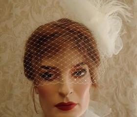 Paris Chic Tulle Birdcage Veil Bow Feather Bridal Fascinator For Wedding