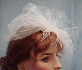Double Layer Veil Illusion Tulle Birdcage with Russian Veiling Bow / Accented with Ostrich Feathers