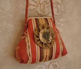 Striped Satin Damask Purse Tangerine Orange And Green / with Rosette brooch