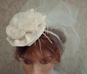 Ivory Bridal Floral And Lace Cocktail Hat / Fascinator with Teardrop Tulle Birdcage Veil